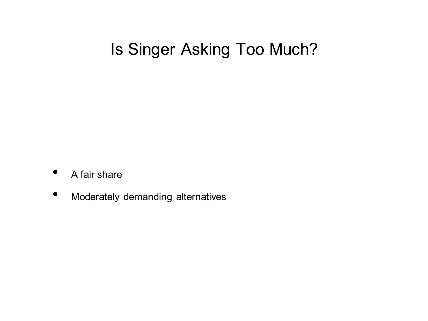 Is Singer Asking Too Much? A fair share Moderately demanding alternatives