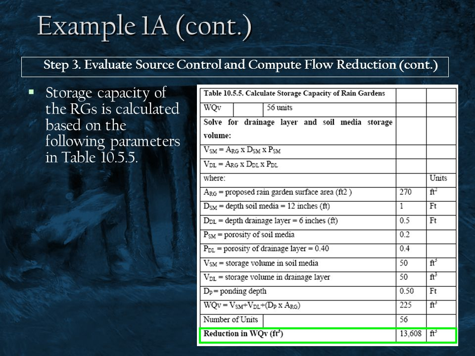 Example 1A (cont.)  Storage capacity of the RGs is calculated based on the following parameters in Table 10.5.5. Step 3. Evaluate Source Control and