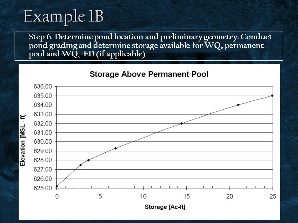 Example 1B Step 6. Determine pond location and preliminary geometry. Conduct pond grading and determine storage available for WQ v permanent pool and