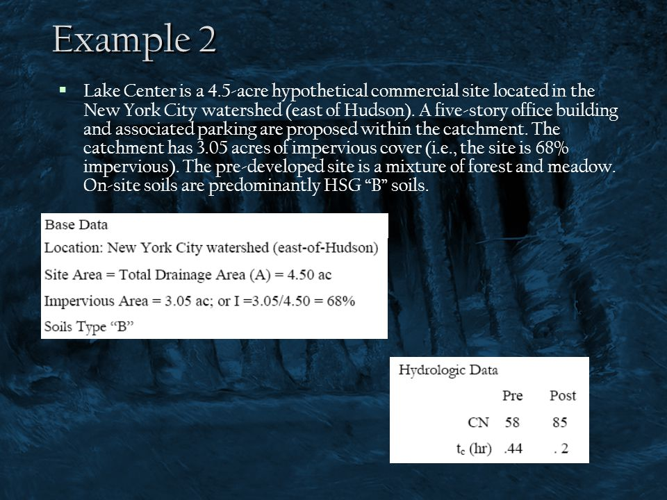  Lake Center is a 4.5-acre hypothetical commercial site located in the New York City watershed (east of Hudson). A five-story office building and ass
