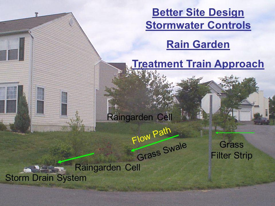 Better Site Design Stormwater Controls Rain Garden Treatment Train Approach Raingarden Cell Storm Drain System Raingarden Cell Flow Path Grass Swale G
