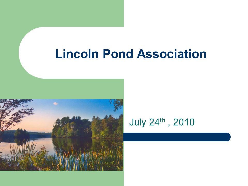 Lincoln Pond Association July 24 th, 2010