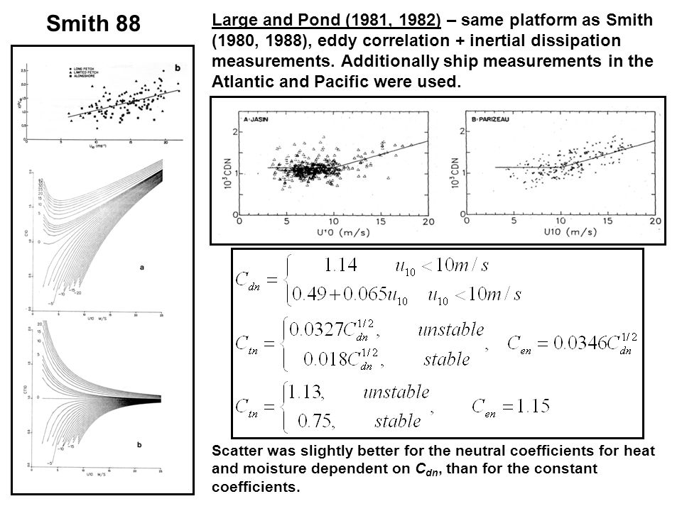 Smith 88 Large and Pond (1981, 1982) – same platform as Smith (1980, 1988), eddy correlation + inertial dissipation measurements.