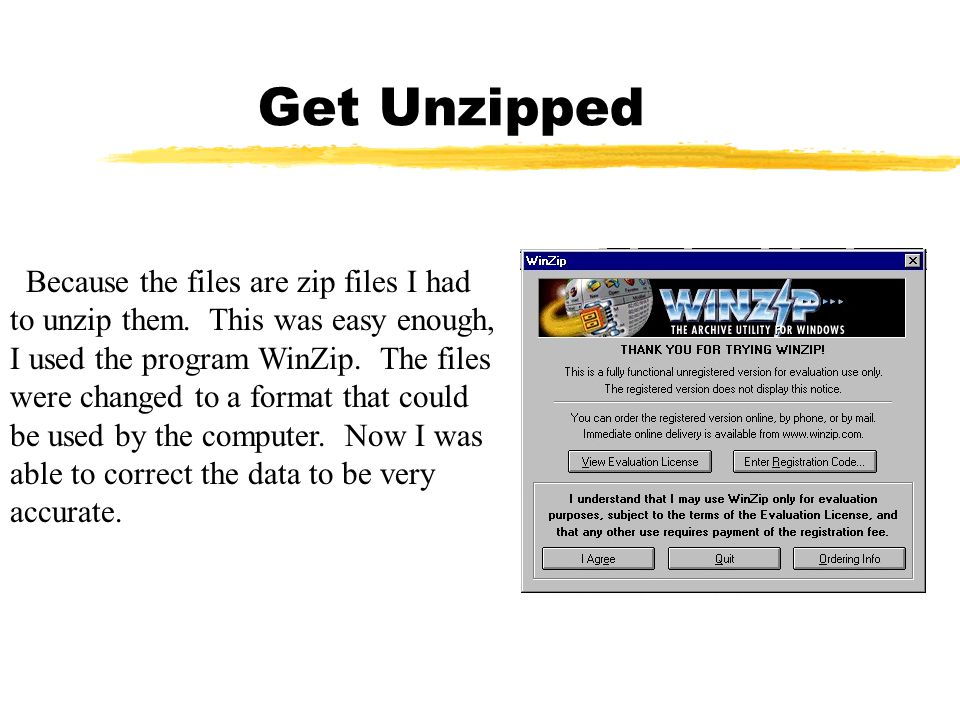 Get Unzipped Because the files are zip files I had to unzip them. This was easy enough, I used the program WinZip. The files were changed to a format