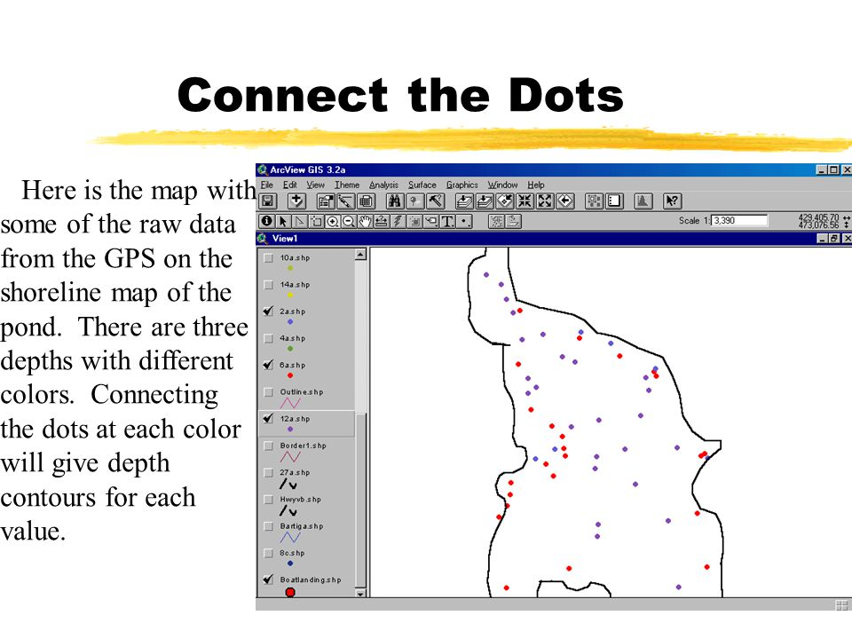 Connect the Dots Here is the map with some of the raw data from the GPS on the shoreline map of the pond. There are three depths with different colors