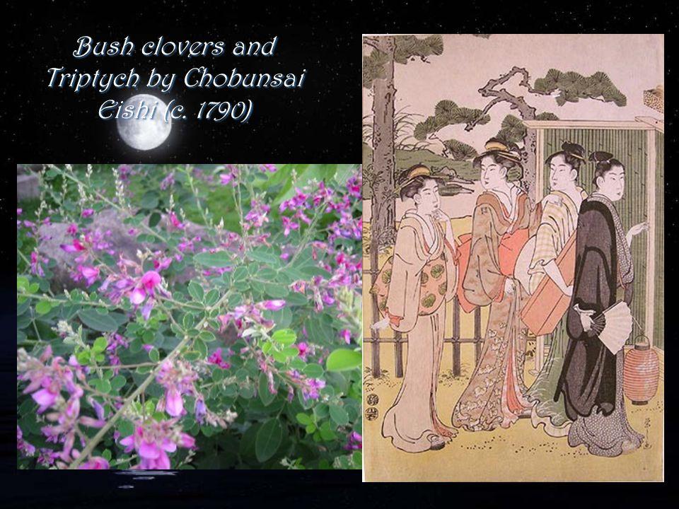 Bush clovers and Triptych by Chobunsai Eishi (c. 1790)