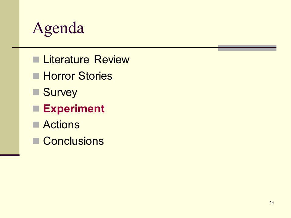 19 Agenda Literature Review Horror Stories Survey Experiment Actions Conclusions