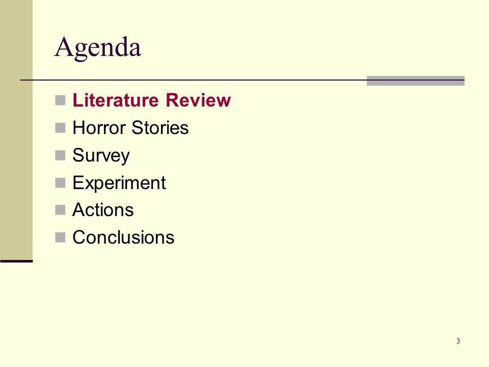3 Agenda Literature Review Horror Stories Survey Experiment Actions Conclusions