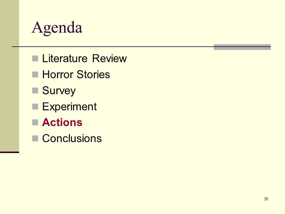 38 Agenda Literature Review Horror Stories Survey Experiment Actions Conclusions