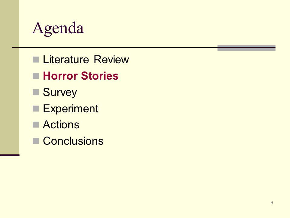9 Agenda Literature Review Horror Stories Survey Experiment Actions Conclusions