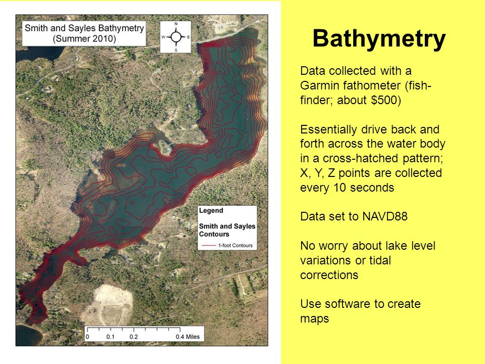 Bathymetry Data collected with a Garmin fathometer (fish- finder; about $500) Essentially drive back and forth across the water body in a cross-hatched pattern; X, Y, Z points are collected every 10 seconds Data set to NAVD88 No worry about lake level variations or tidal corrections Use software to create maps