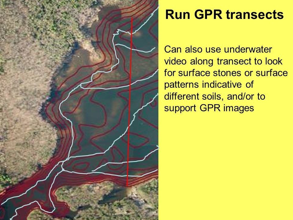 Run GPR transects Can also use underwater video along transect to look for surface stones or surface patterns indicative of different soils, and/or to support GPR images