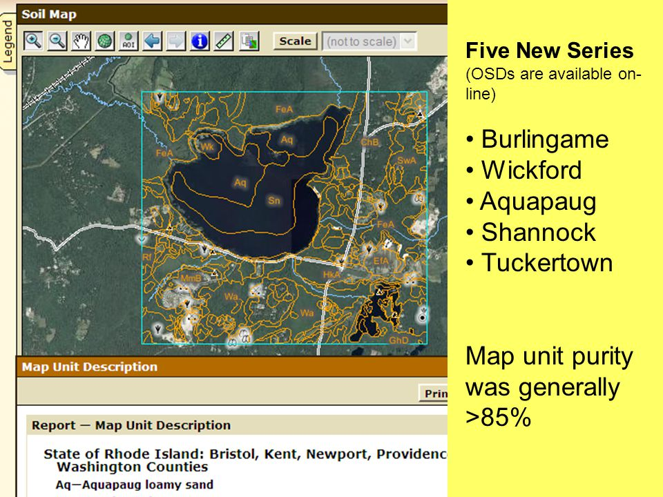 Five New Series (OSDs are available on- line) Burlingame Wickford Aquapaug Shannock Tuckertown Map unit purity was generally >85%