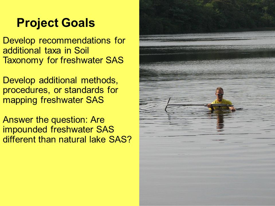 Project Goals Develop recommendations for additional taxa in Soil Taxonomy for freshwater SAS Develop additional methods, procedures, or standards for mapping freshwater SAS Answer the question: Are impounded freshwater SAS different than natural lake SAS