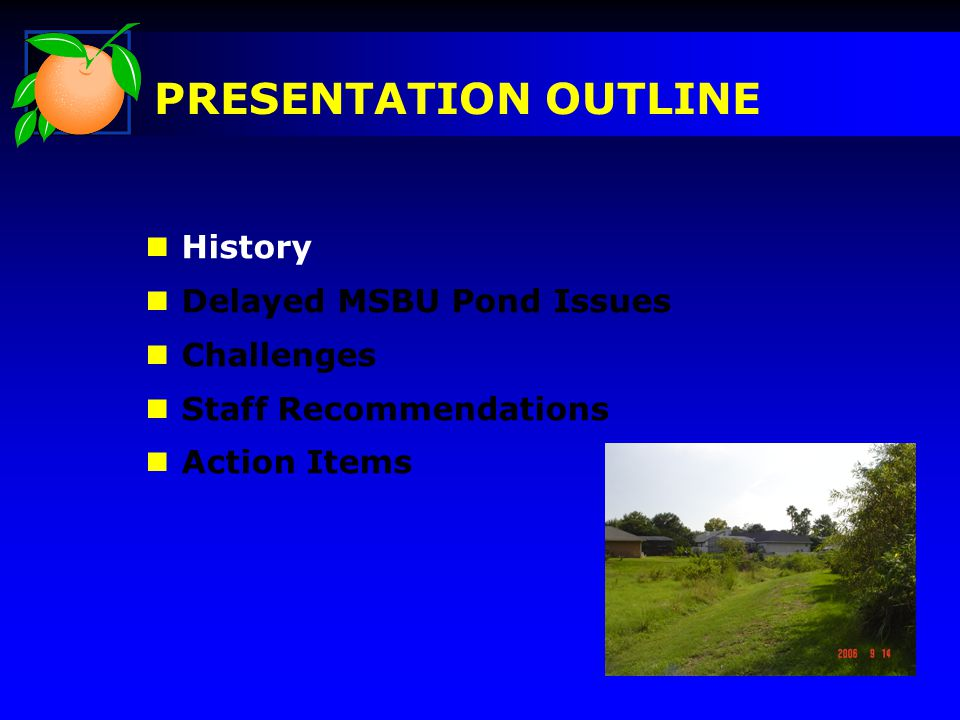 n History n Delayed MSBU Pond Issues n Challenges n Staff Recommendations n Action Items PRESENTATION OUTLINE