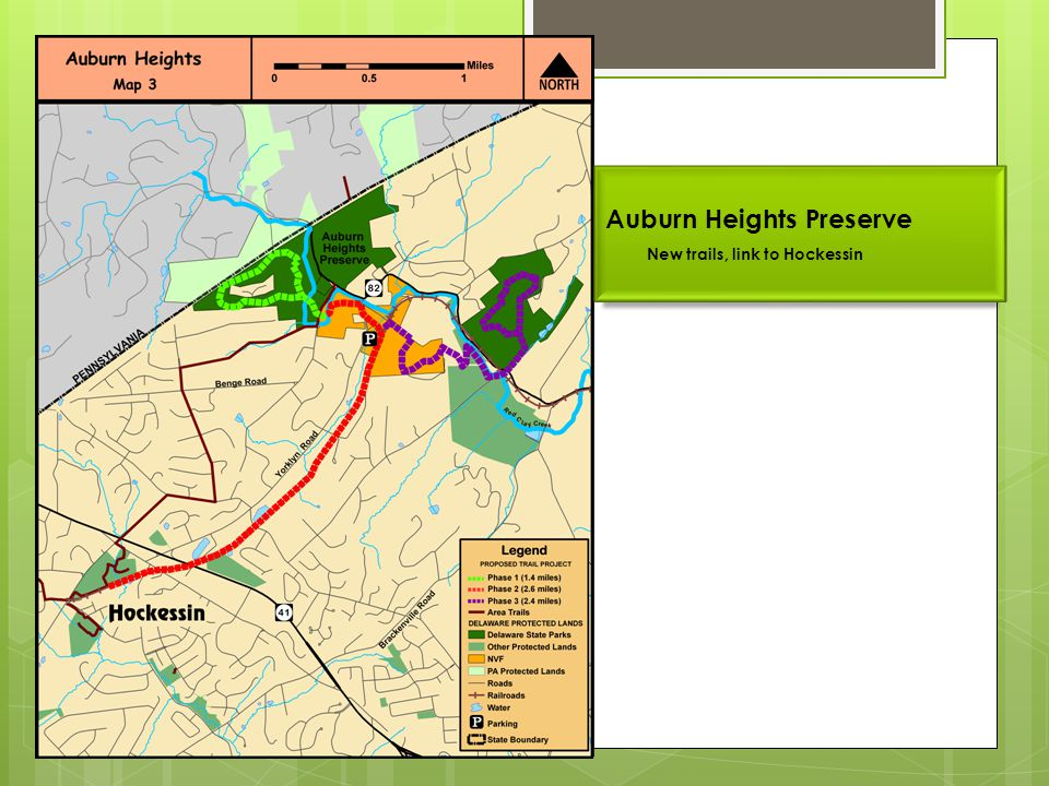 Auburn Heights Preserve New trails, link to Hockessin