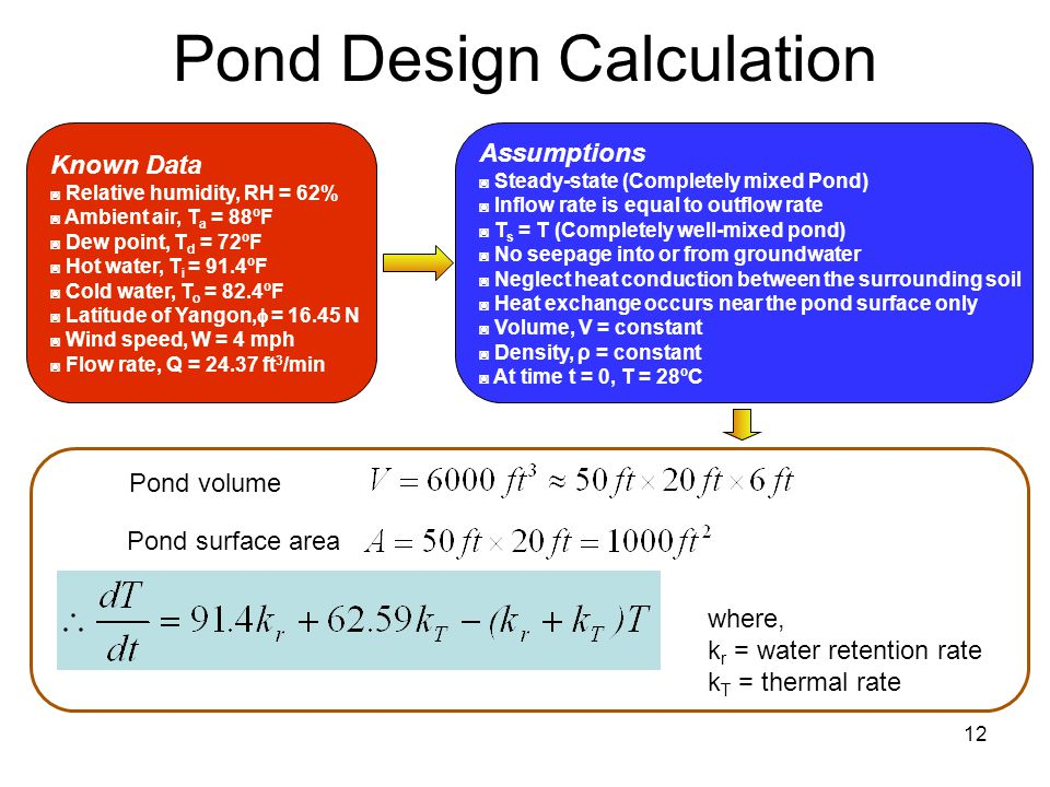 12 Pond Design Calculation Known Data ◙ Relative humidity, RH = 62% ◙ Ambient air, T a = 88ºF ◙ Dew point, T d = 72ºF ◙ Hot water, T i = 91.4ºF ◙ Cold