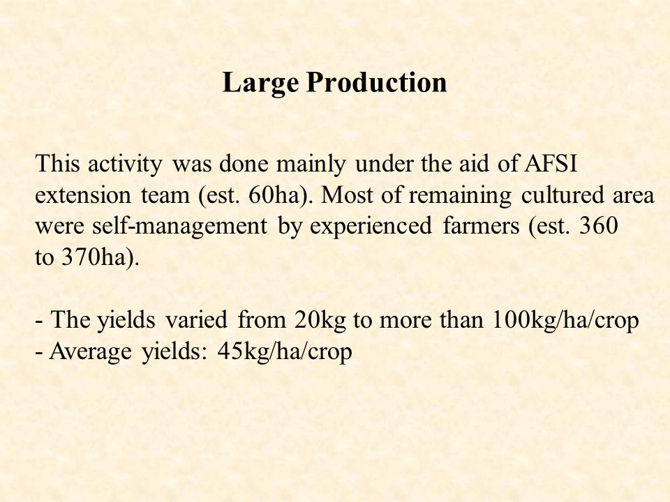 Large Production This activity was done mainly under the aid of AFSI extension team (est. 60ha). Most of remaining cultured area were self-management