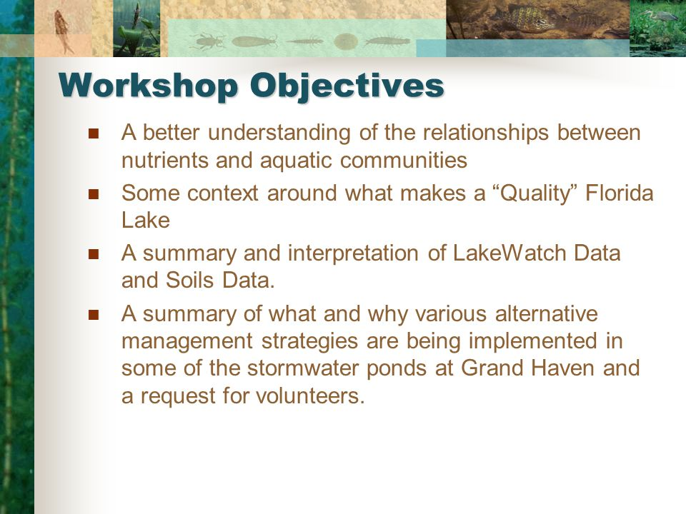 Workshop Objectives A better understanding of the relationships between nutrients and aquatic communities Some context around what makes a Quality Florida Lake A summary and interpretation of LakeWatch Data and Soils Data.