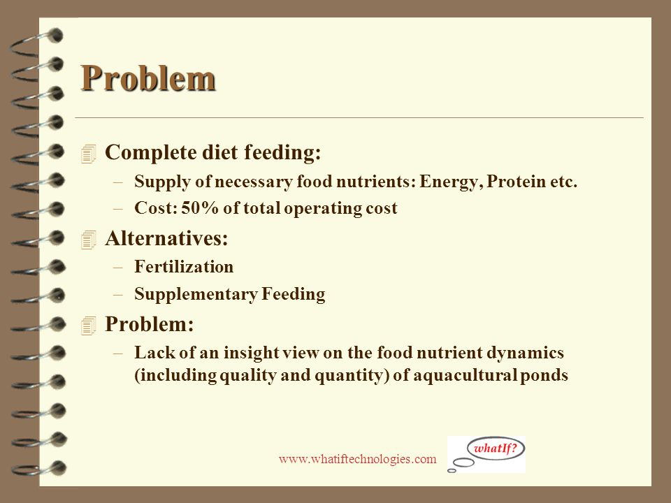 www.whatiftechnologies.com Problem 4 Complete diet feeding: –Supply of necessary food nutrients: Energy, Protein etc. –Cost: 50% of total operating co