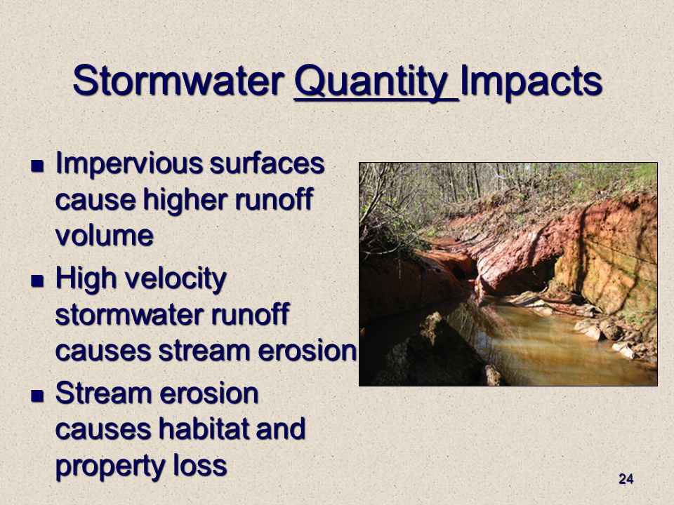 24 Stormwater Quantity Impacts Impervious surfaces cause higher runoff volume Impervious surfaces cause higher runoff volume High velocity stormwater runoff causes stream erosion High velocity stormwater runoff causes stream erosion Stream erosion causes habitat and property loss Stream erosion causes habitat and property loss