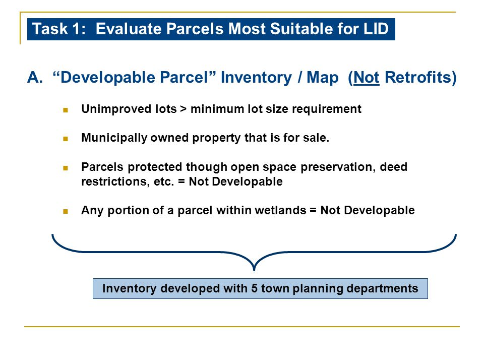 """A. """"Developable Parcel"""" Inventory / Map (Not Retrofits) Unimproved lots > minimum lot size requirement Municipally owned property that is for sale. Pa"""