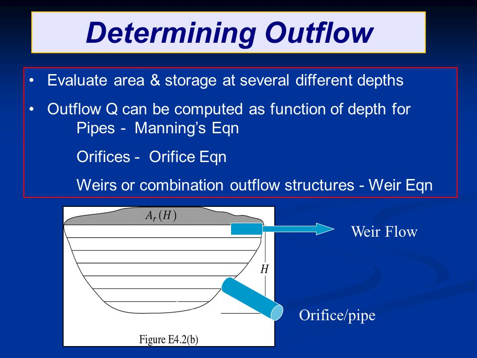 Determining Outflow Evaluate area & storage at several different depths Outflow Q can be computed as function of depth for Pipes - Manning's Eqn Orifi