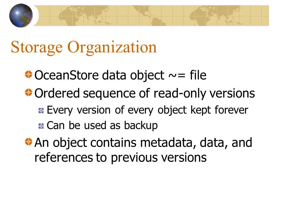 Storage Overhead For 32 choose 16 erasure encoding 2.7x for data > 8KB For 64 choose 16 erasure encoding 4.8x for data > 8KB
