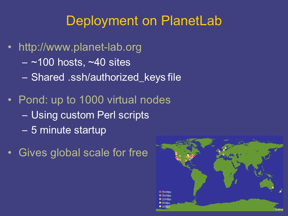 Deployment on PlanetLab http://www.planet-lab.org –~100 hosts, ~40 sites –Shared.ssh/authorized_keys file Pond: up to 1000 virtual nodes –Using custom