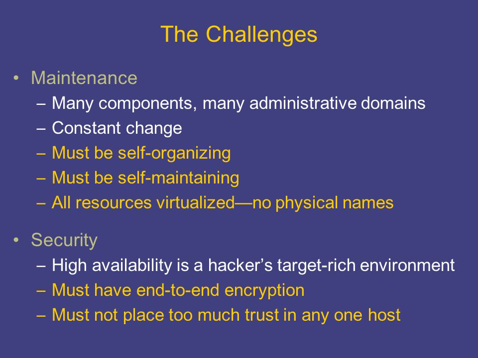 The Challenges Maintenance –Many components, many administrative domains –Constant change –Must be self-organizing –Must be self-maintaining –All reso