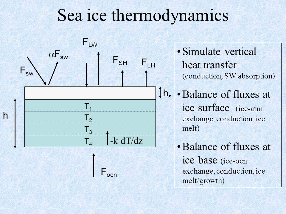 Vertical heat transfer (from Light, Maykut, Grenfell, 2003) (Maykut and Untersteiner, 1971; Bitz and Lipscomb, 1999; others) Assume brine pockets are in thermal equilibrium with ice Heat capacity and conductivity are functions of T/S of ice Assume constant salinity profile Assume non-varying density Assume pockets/channels are brine filled