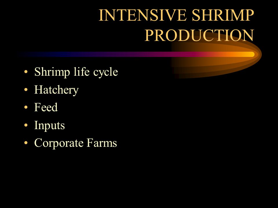 INTENSIVE SHRIMP PRODUCTION Shrimp life cycle Hatchery Feed Inputs Corporate Farms