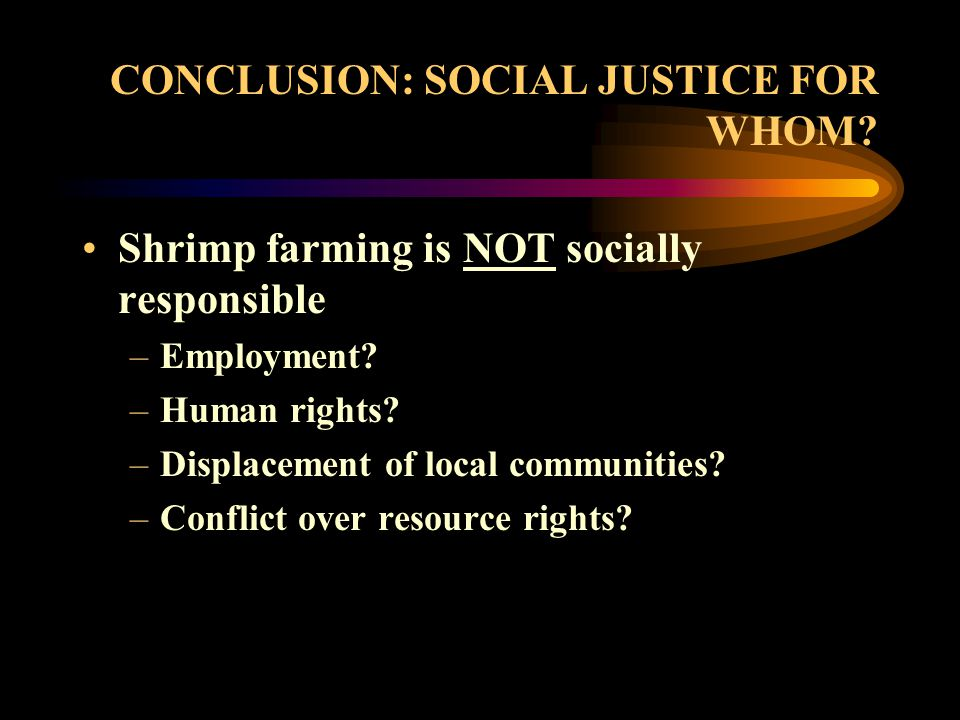 CONCLUSION: SOCIAL JUSTICE FOR WHOM. Shrimp farming is NOT socially responsible –Employment.