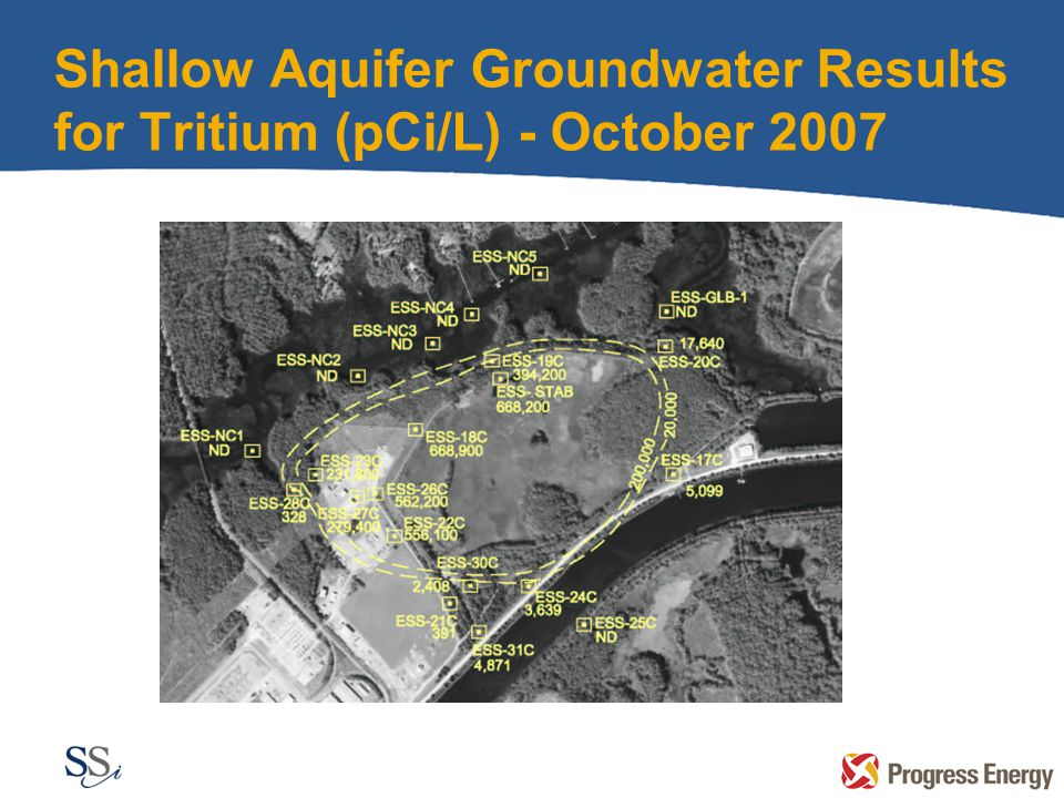 Shallow Aquifer Groundwater Results for Tritium (pCi/L) - October 2007