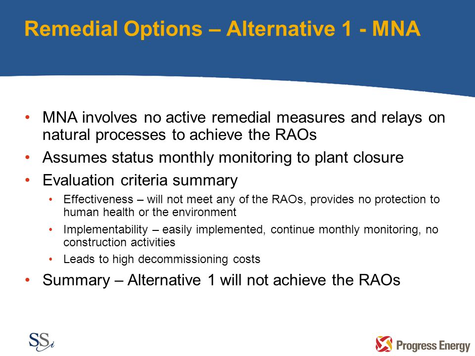 Remedial Options – Alternative 1 - MNA MNA involves no active remedial measures and relays on natural processes to achieve the RAOs Assumes status monthly monitoring to plant closure Evaluation criteria summary Effectiveness – will not meet any of the RAOs, provides no protection to human health or the environment Implementability – easily implemented, continue monthly monitoring, no construction activities Leads to high decommissioning costs Summary – Alternative 1 will not achieve the RAOs