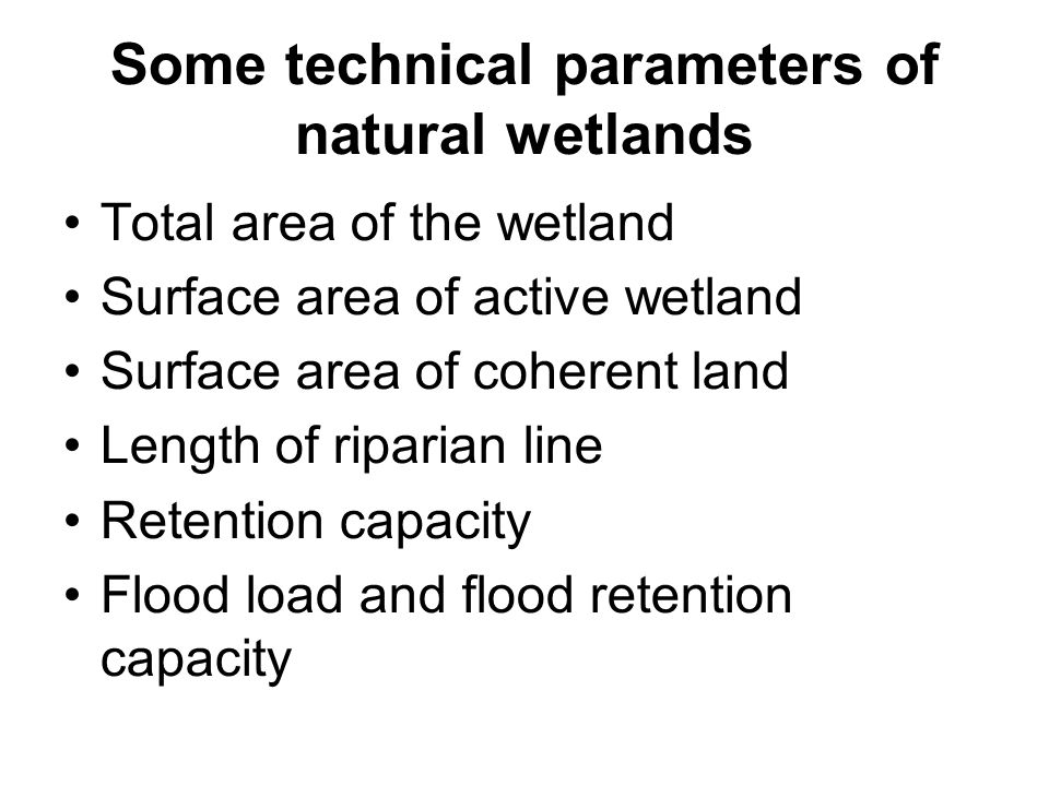 Ecological functions of natural wetlands Enhancing biodiversity Retention of water in the landscape Retention and fluiding of stormrunoff and floods Slowing the watercourses load Evapotranspiration improving local climate Stabilisation of ground water level Capture of CO2 into sediments Production of biomass