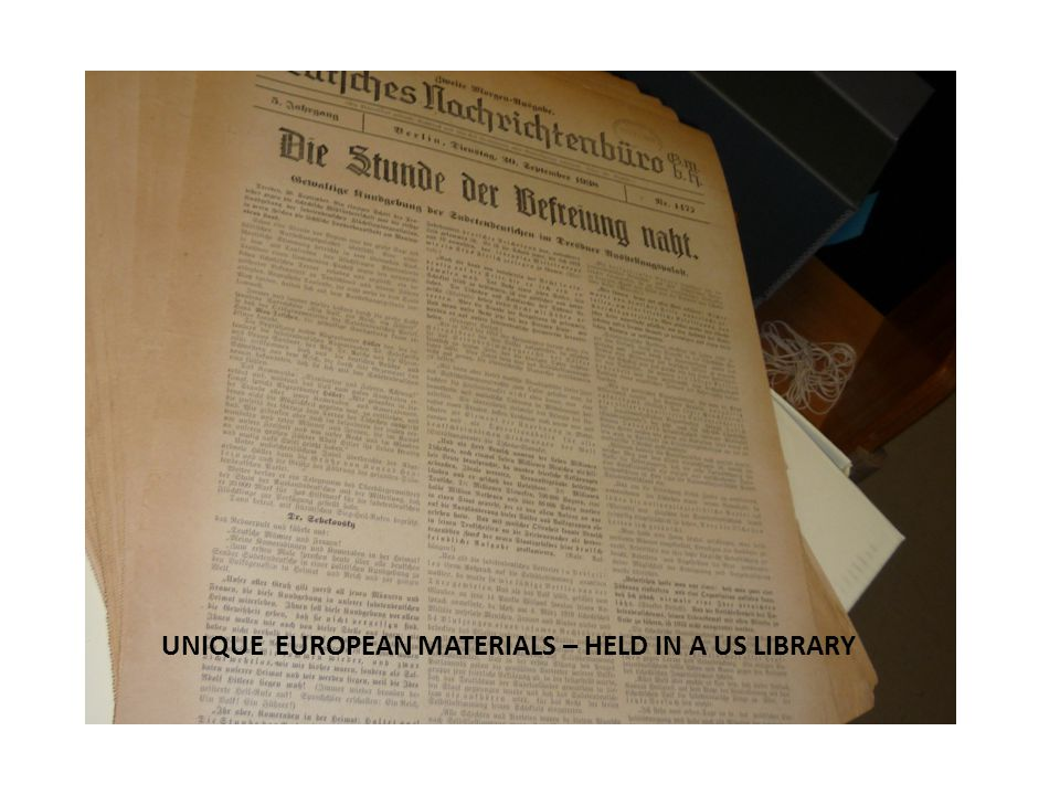 UNIQUE EUROPEAN MATERIALS – HELD IN A US LIBRARY