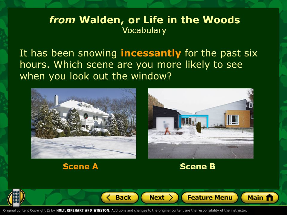 It has been snowing incessantly for the past six hours. Which scene are you more likely to see when you look out the window? from Walden, or Life in t