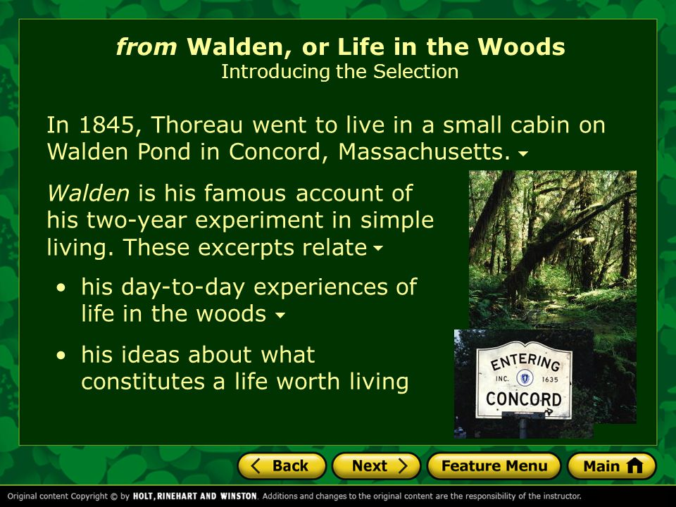 Click on the title to start the video. from Walden, or Life in the Woods Introducing the Selection