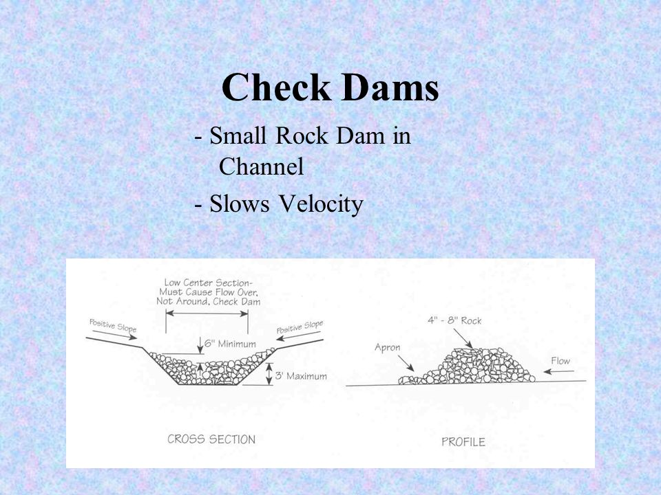 Runoff Control Measures -Check Dams - Slope Drains -Temporary Dams -Water Bar