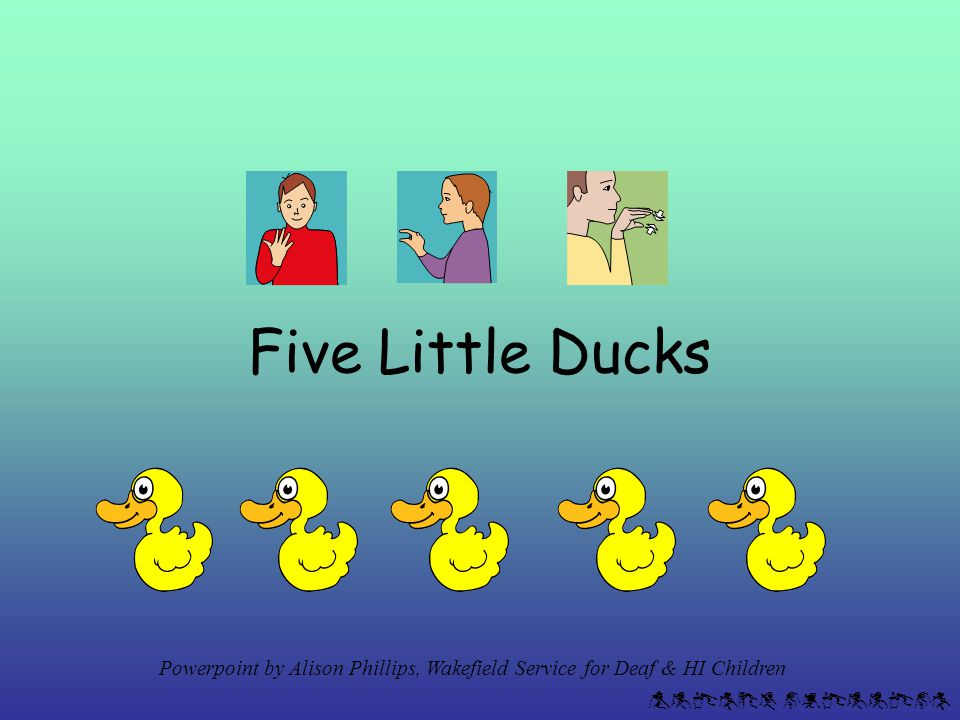 Alison phillips The little ducks come on & stop without clicking – so there's time to count them, and look at the number slide.