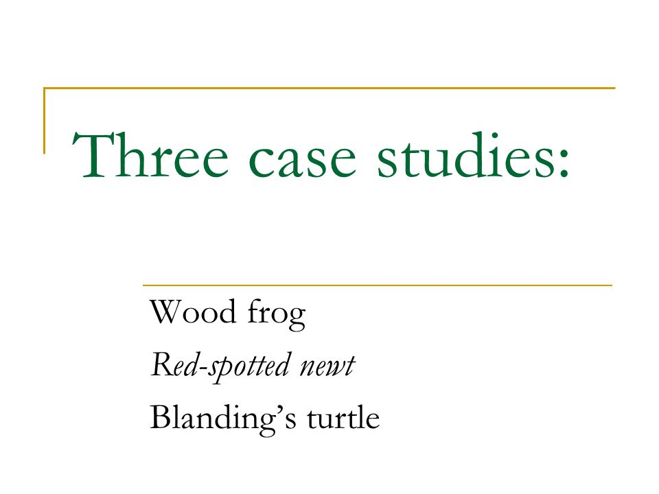 Three case studies: Wood frog Red-spotted newt Blanding's turtle