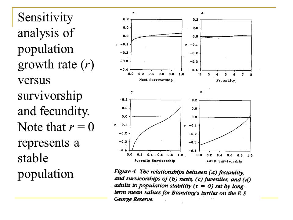 Sensitivity analysis of population growth rate (r) versus survivorship and fecundity.