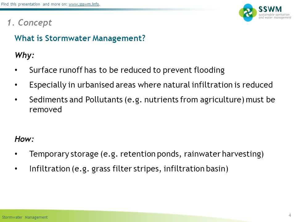 Stormwater Management Find this presentation and more on: www.ssswm.info.www.ssswm.info What is Stormwater Management? Why: Surface runoff has to be r