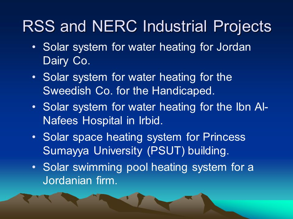 RSS and NERC Industrial Projects Solar system for water heating for Jordan Dairy Co.