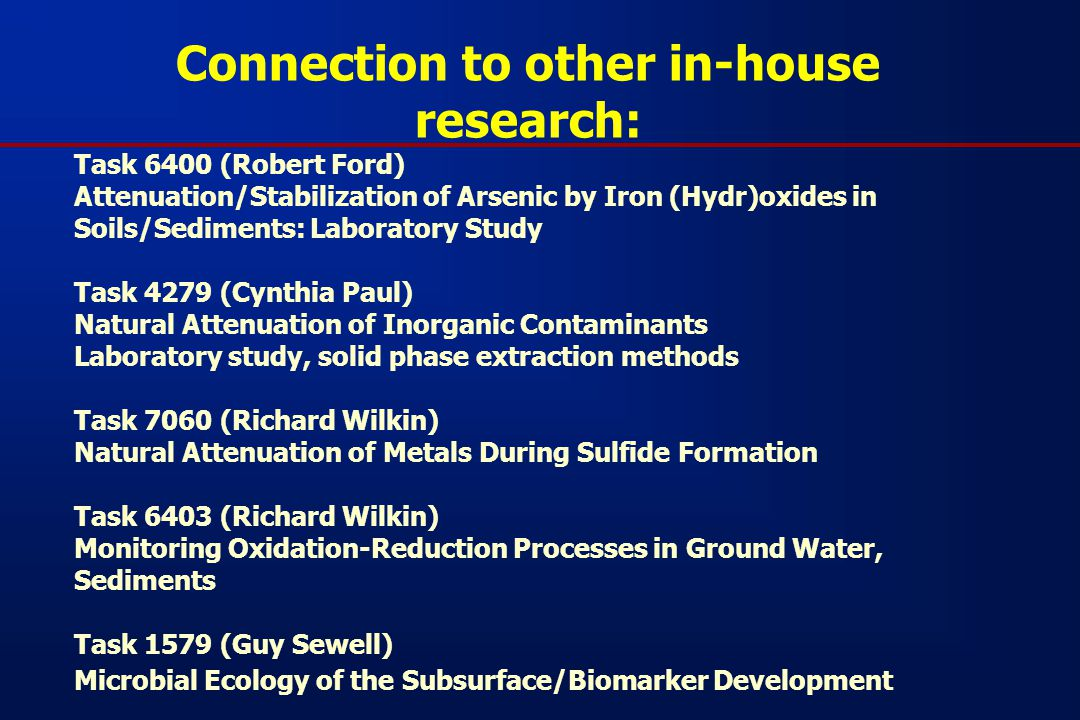 Connection to other in-house research: Task 6400 (Robert Ford) Attenuation/Stabilization of Arsenic by Iron (Hydr)oxides in Soils/Sediments: Laboratory Study Task 4279 (Cynthia Paul) Natural Attenuation of Inorganic Contaminants Laboratory study, solid phase extraction methods Task 7060 (Richard Wilkin) Natural Attenuation of Metals During Sulfide Formation Task 6403 (Richard Wilkin) Monitoring Oxidation-Reduction Processes in Ground Water, Sediments Task 1579 (Guy Sewell) Microbial Ecology of the Subsurface/Biomarker Development