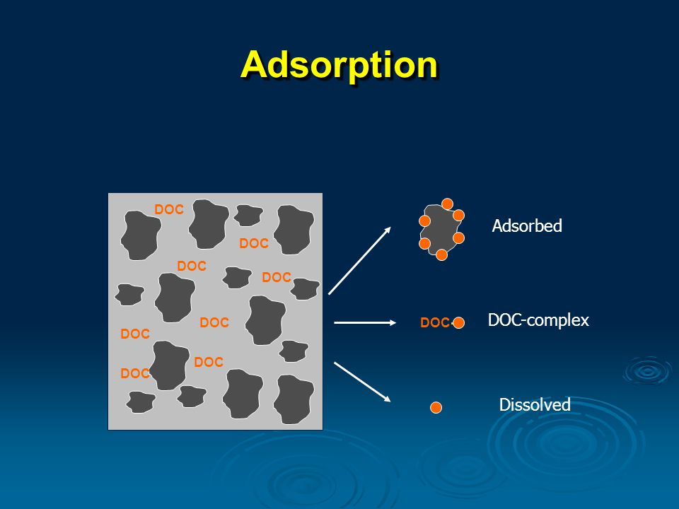 AdsorptionAdsorption DOC DOC- Adsorbed DOC-complex Dissolved