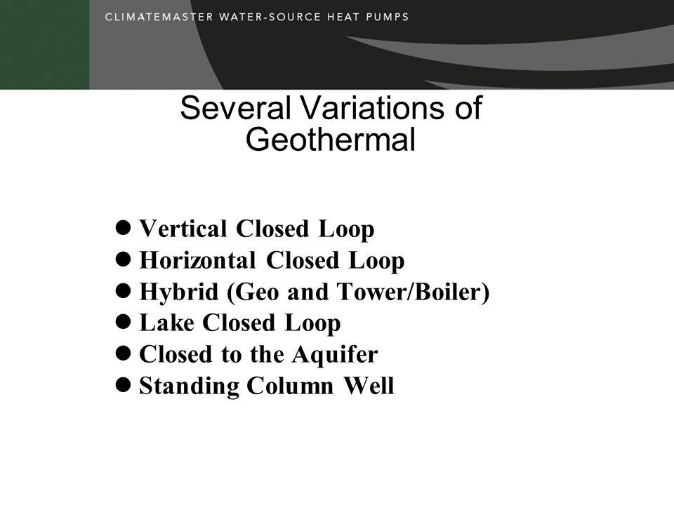 Several Variations of Geothermal Vertical Closed Loop Horizontal Closed Loop Hybrid (Geo and Tower/Boiler) Lake Closed Loop Closed to the Aquifer Standing Column Well