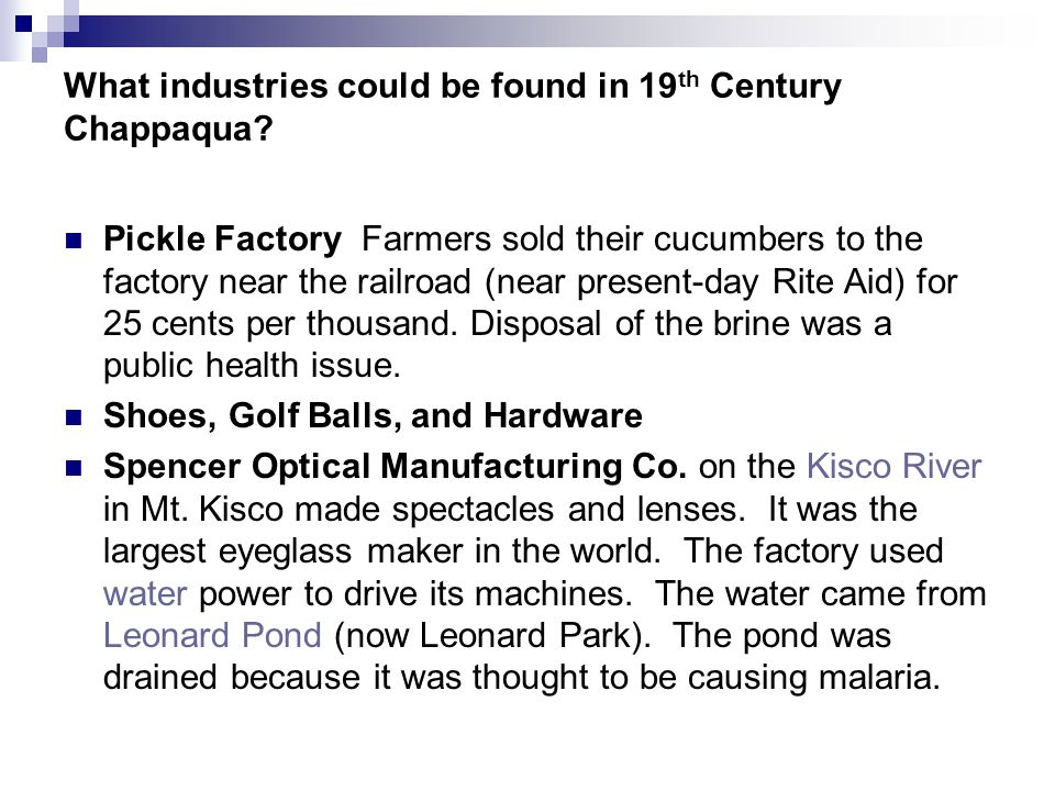 What industries could be found in 19 th Century Chappaqua.