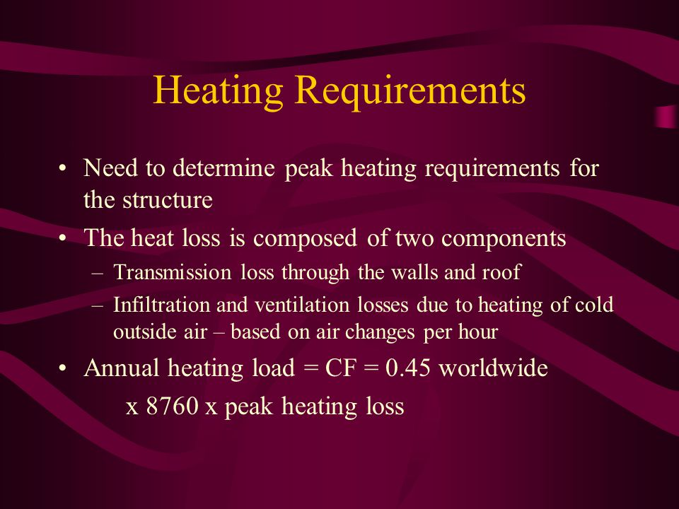 Heating Requirements Need to determine peak heating requirements for the structure The heat loss is composed of two components –Transmission loss through the walls and roof –Infiltration and ventilation losses due to heating of cold outside air – based on air changes per hour Annual heating load = CF = 0.45 worldwide x 8760 x peak heating loss